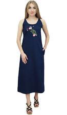 Bimba Women's Sleeveless Denim Dress Dark Blue Round Neck Casual Dresses