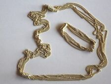"26"" Goldtone Rhodium Plated Five Strand Nacklace & Matching Bracelet"