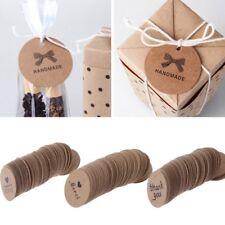 100X Round Kraft Paper Label Seal Adhesive Handmade Sticker Packaging Tag Decor