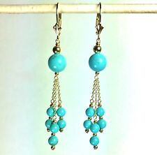 natural Turquoise earrings leverbacks, 4.2 grams 14k solid yellow gold 8 & 4mm