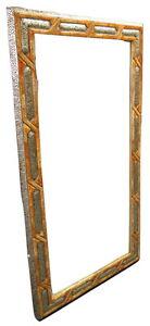 "Moroccan Carved Camel Bone & Silver Metalwork Arabic Arch Wall Mirror 60"" x 32"""