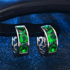 Pretty New White Gold Plated 3 Round Emerald Green Cz Huggie Hoop Earrings