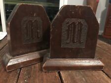 Mid Century Heavy wood Carved Bookends Set Initial M Bh7