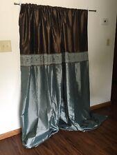 Modern Design Vtg Linen Satin Blue/Brown Lined 2 Panel Elegant Embroider Drapes