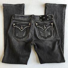 Miss Me Buckle {Boot Stitch Embellished Flap Jeans} Black Denim sz 29 x 32