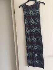 Blue / Purple Print Midi / Maxi Dress - Sleeveless - Size 6-10