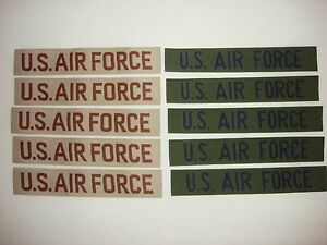 10 Never Worn US AIR FORCE Pocket Tapes: 5 Desert Tan + 5 Subdued Patches