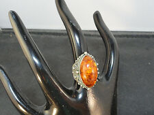 Exquisite Russian Etruscan Revival Baltic Amber Artisan Signed Silver Ring
