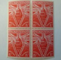 BLOCK OF 4 NEW ZEALAND ST PAULS CATHEDRAL V FOR VICTORY1946 1 1/2 d PEACE STAMPS