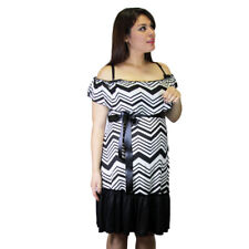 Ribbon Maternity Knee Lenght Black White Chevron Stripped Pregnancy Dress