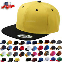 Baseball Cap Two Tone Snapback Adjustable One Size Hat Flat Bill Blank 6 Panels