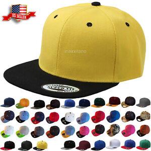 Baseball Cap Two Tone Snapback Adjustable One Size Hat Flat Bill Blank 6 Panels