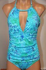NWT Ralph Lauren Swimsuit Bikini 1 One piece Size 14 High Neck Multi