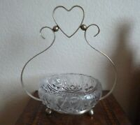 GORGEOUS EDWARDIAN ART NOUVEAU STAND WITH HEART DESIGN AND GLASS BOWL.