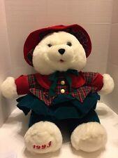 "K Mart 1993 20"" Plush Christmas White Teddy Bear Plaid Dress Adorable"