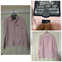 Superdry Pink Shirt Striped Women Size Large Long Sleeve Regular Fit (A801)
