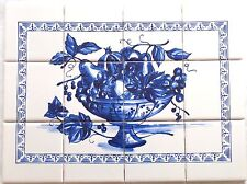 "Blue Fruit 12pc Ceramic Tile Mural 17"" x 12.75"" KilnFired BackSplash Delft Theme"