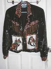 Stone River Western Wear Sequins Jacket Small 100% Silk Horse Boot Beaded Fringe