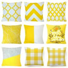 "Yellow PILLOW COVER Home Decor Plaid Check Chevron Sofa Bed Cushion Case 18x18"""