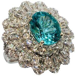 5.02 Carat Paraiba Tourmaline Circa 2010 14K White Gold 925 Silver Wedding Ring