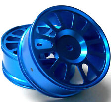 85605 285039F 1/16 Scale RC Front Wheels Rims 2 Chrome Light Blue 12 Spoke Alloy