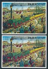 [105636] Paraguay 1986 Railway train eisenbahn Pair A+B sheets MNH