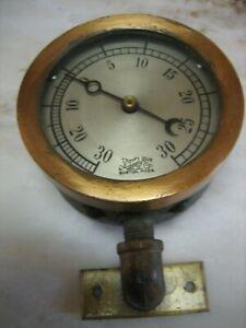 Antique Vintage Steam Pressure Gauge  Brass