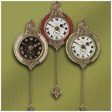 THREE SMALL AGED FACE BRASS LAMINATED ROUND WALL CLOCKS  PENDULUM VINTAGE STYLE