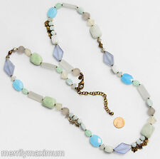 Chico's Signed Necklace Gold Tone Long Turquoise Aqua Blue Green Stone & Glass