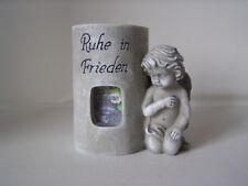 Engel neben Säule, Foto und Teelicht, Ruhe in Frieden, Grabschmuck, Trauer