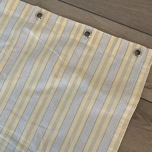 Restoration Hardware SHOWER CURTAIN Cabana Stripe Yellow Taupe Off White