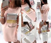 UK Womens Loose Tunic T-Shirt Dress Ladies Beach Casual Long Tee Blouse Tops