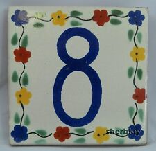 Mexican House Number Talavera Tile Home Address Tile Flowers # 8