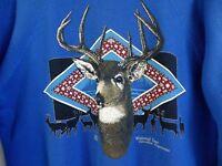 Vtg 80s Whitetail Deer Spirit Animal Surf Skate Grunge 50/50 Blue Sweatshirt M