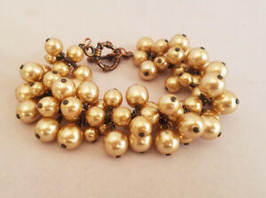 Beautiful Champagne Colored Glass Pearl Cluster Bracelet Coper Metal Accents