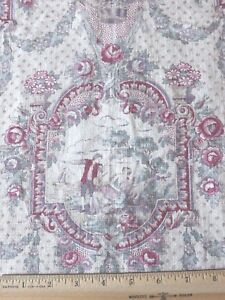 """Antique Vintage c1920 French Muted Blues & Roses Romantic Linen Toile~19"""" X 30"""""""