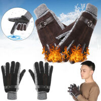 Mens Winter Warm Gloves Real Leather Thicken Windproof Thermal Moto Mittens.