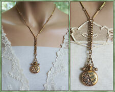 Antique Victorian Rose Yellow Gold Filled  Miniature Perfume Bottle Necklace