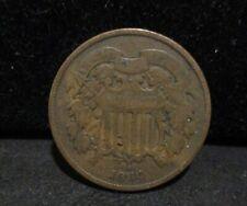 1864 Two Cent Piece - VG+ - Lg. Motto - 175 Degree Die Rotation!    ENN COINS