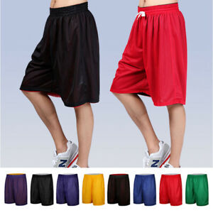 MENS ATHLETIC JERSEY MESH SHORTS GYM WORKOUT BASKETBALL FITNESS S-2XL NO POCKETS