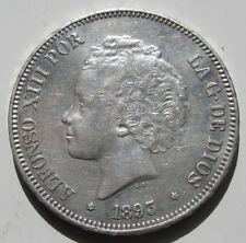 ALFONSO XIII , 5 PESETAS DE 1893 ESTRELLAS 18 - 93 . PLATA