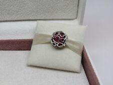 New w/Box Pandora Encased in Love Cerise Glass w/ Hearts Charm 792036NCC