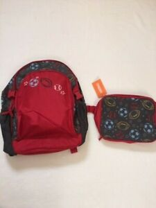 NWT Gymboree  Boys Red Brown Sport Backpack Lunchbox Set