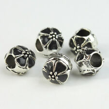 Lots Enamel Flower Silver Big Hole Spacer Charm Beads 10mm for European Bracelet