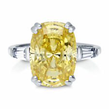 925 Silver 5ct Cushion Canary Yellow Solitaire Right Hand Cocktail Wedding Ring
