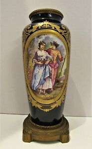 "Nice Quality Antique 1890 Hand Painted 10"" Sevres Urn- Bronze Mtd- Great Detail"
