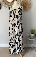 M&S Autograph Animal Print Maxi Dress UK12 Nude/Black Sleeveless Long