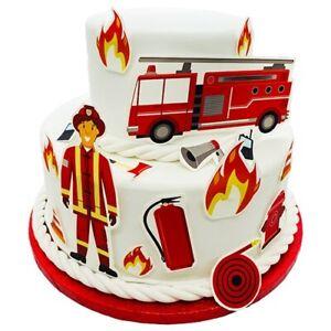 Fondant Kuchen-Tattoo - Feuerwehr