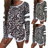 Womens O-Neck Leopard Print Blouse Long Sleeve Jumper Tops Casual Loose Shirt