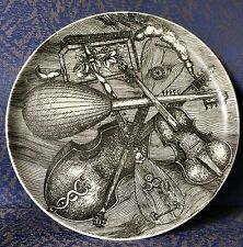 """Piero Fornasetti, Musical Instruments, Orig Plate, Exc Cond,  9 1/4"""", Beautiful!"""